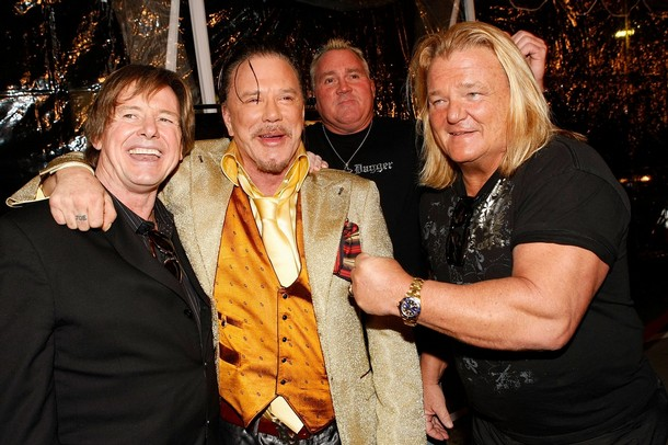Mickey Rourke with Wrestling Legends Roddy Piper, Greg Valentine and Brutus Beefcake