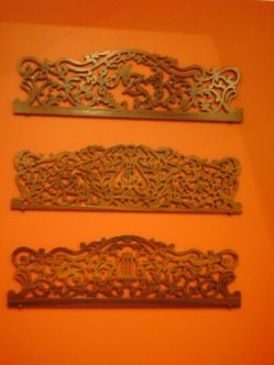Carved music racks from pianos, I think
