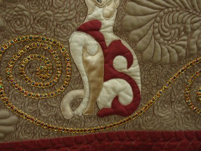 Details of Owl Celtic by Faye Thornton. My photos of the entire quilt turned out blurry, but please examine these masterful snippets.