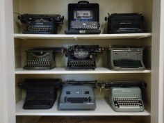 And these are typewriters, my dear, for writing term papers and business letters and book manuscripts before there were computers.