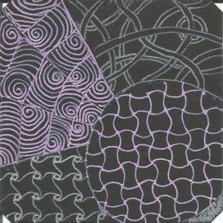 Gel pens on black artist tile.