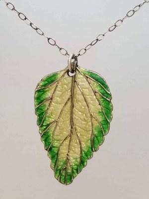 Enameled Fine Silver Metal Clay Leaf Pendant