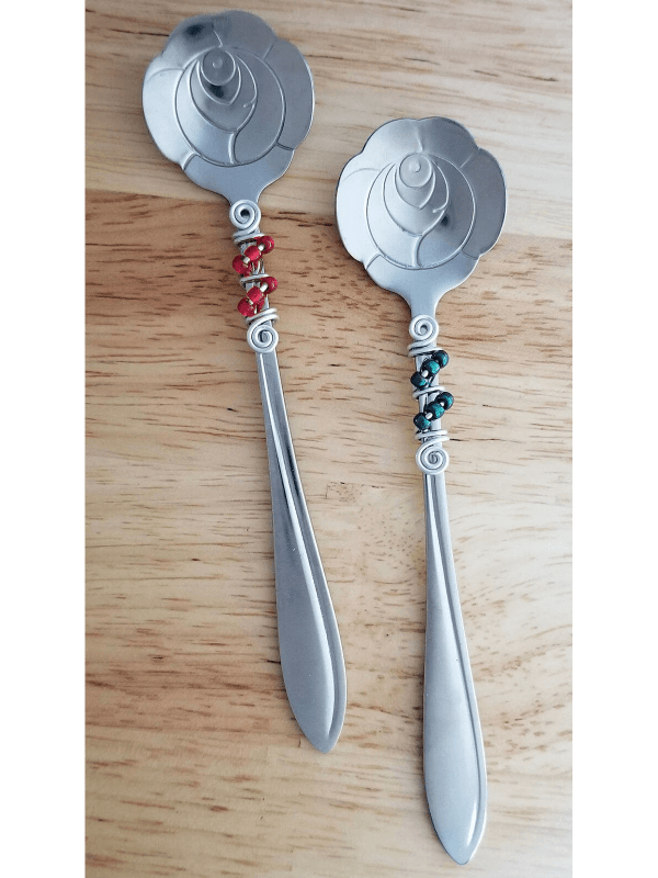 Beaded Floral Rose Spoons