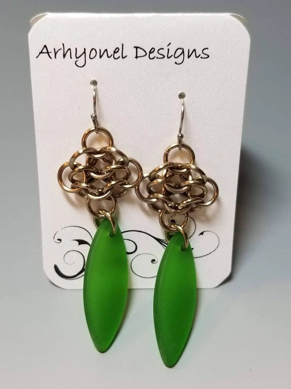 Chain Maille Earrings with Glass