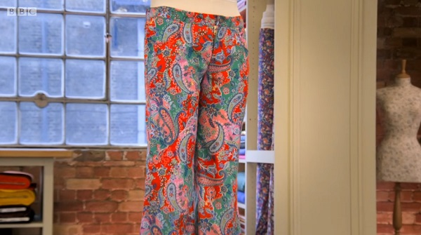 mercedes paisley flared trousers