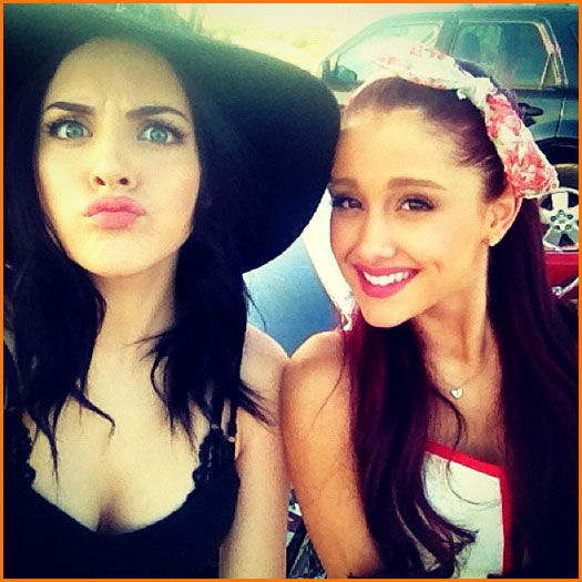 Ariana Grande And Liz Gillies Sing On The Set Of