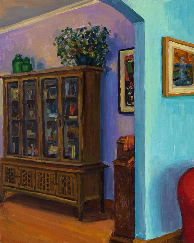"Split View with China Cabinet, oil on wood, 10"" x 8"", 2013"