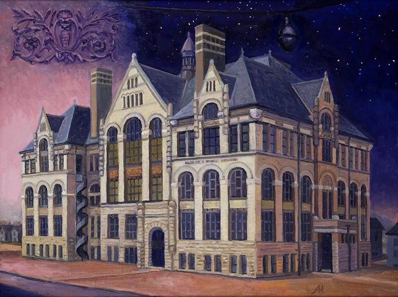 "Albert E Kagel School, oil on wood, 12"" x 16"", 2015"