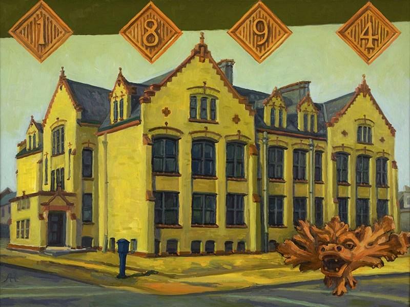 "Vieau School, oil on wood, 12"" x 16"", 2014"
