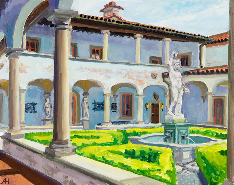 "Villa Terrace Courtyard, oil on wood, 8"" x 10"", 2016"