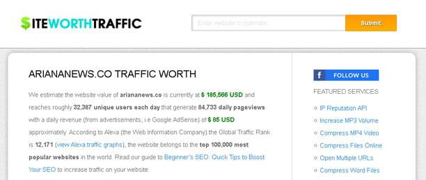 калькулятор стоимости сайта siteworthtraffic - Топ-5 калькулятор стоимости сайта
