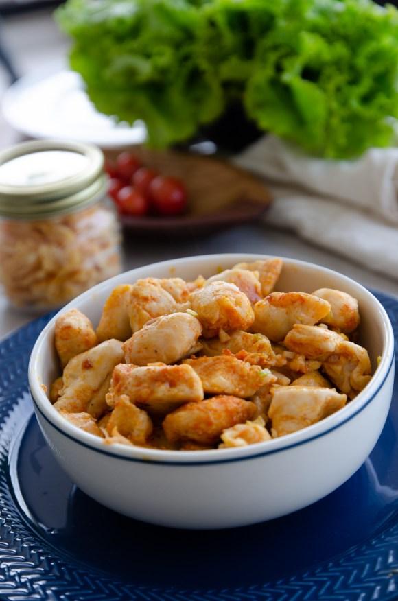 como fazer cubos de peito de frango suculentos