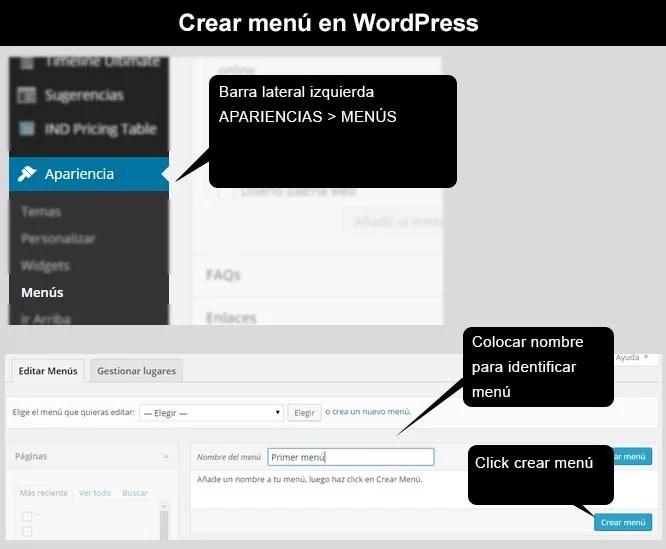 Crear menú en WordPress