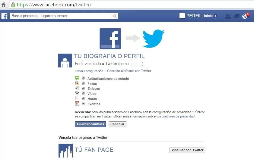 Vincular Fan Page de Facebook a Twitter (publicaciones automáticas)