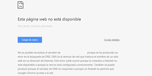 error Esta página web no está disponible