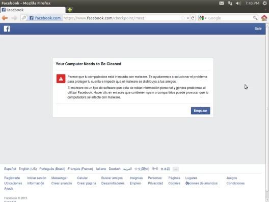 bloqueo de facebook por detectar malware imposible acceder a mi cuenta
