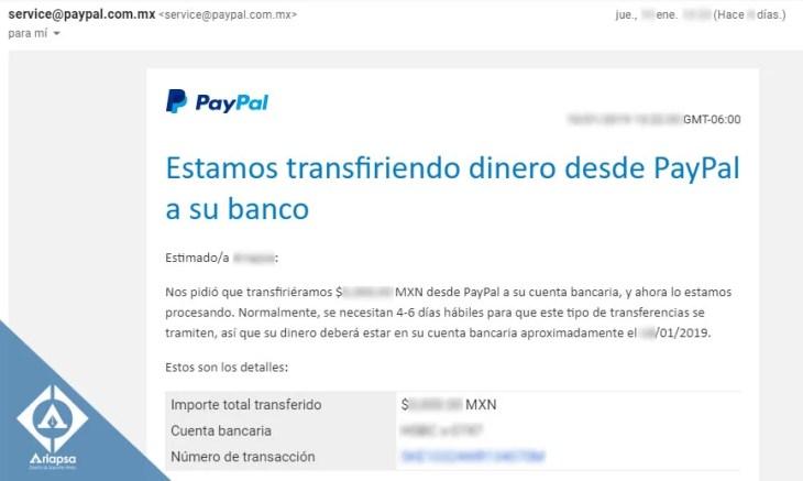 Transferir dinero de pay pal a su banco