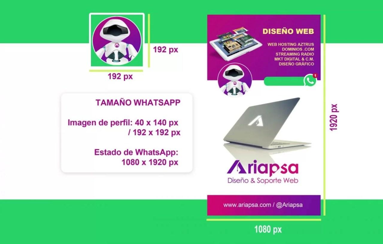 Tamaño para whatsapp Ariapsa México