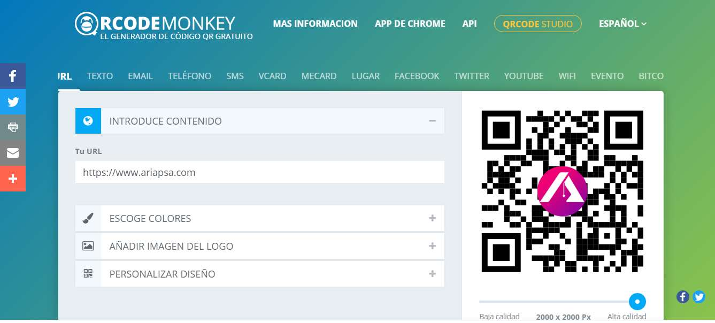 QR Code Monkey Generador de códigos Qr gratis con logo posteo de Ariapsa