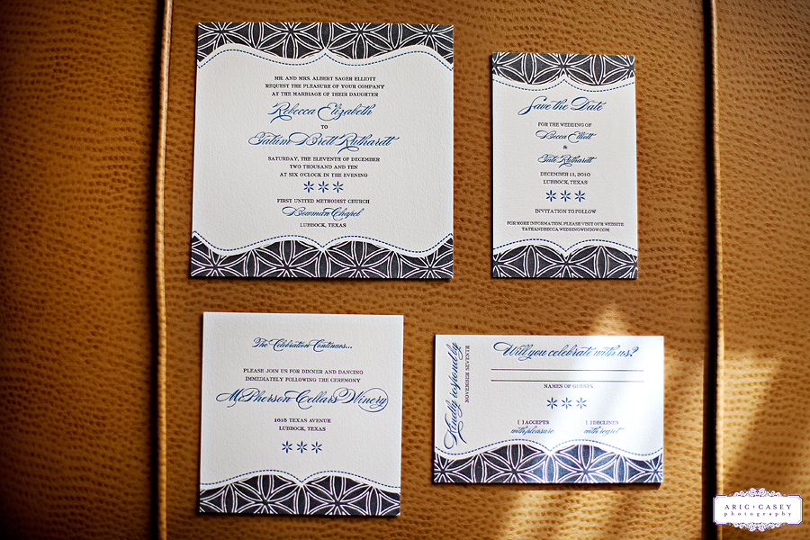 A classy, elegant, vintage inspired wedding of Becca Elliot and Tate Rudhart including beautiful letterpress invitations photographed by Aric and Casey Lampert of Aric + Casey Photography at McPherson Winery in Lubbock, Texas.