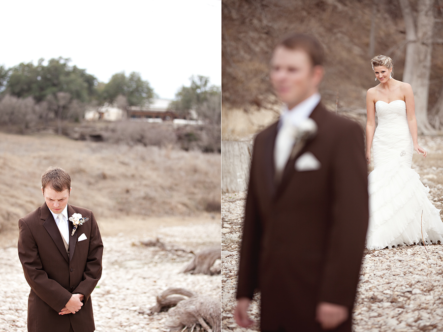 The Beautiful, Romantic, Rustic and intimate wedding of Miss New Mexico 2004 Jenna Hardin and Travis HIllman at Marquardt Ranch in Bourne, Texas in Texas Hill Country photographed by Lubbock, Austin, Dallas, Texas and Destination Wedding Photographers Aric and Casey Lampert of Aric and Casey Photography, Groom waiting to see his bride for the first time on their wedding day during the first look