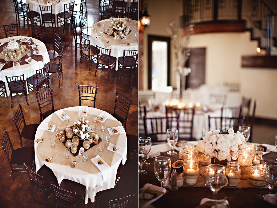 Texas Hill Country wedding at the beautiful Marquardt Ranch, rustic, elegant, sophisticated, beautiful wedding of Jenna Hardin and Travis Hillman photographed by Aric and Casey Photography Cotton and Rustic Wedding florals and centerpieces