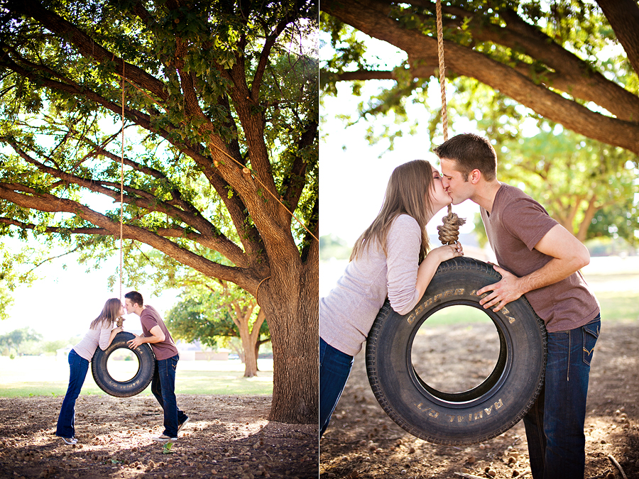 Tire swing engagement session Lubbock wedding photographer