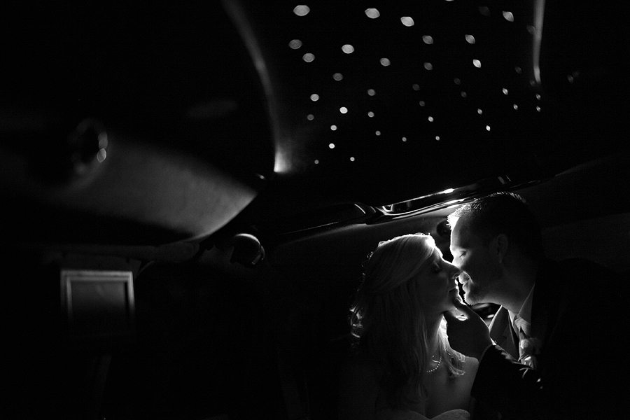Unique Wedding Image in Limo with lights