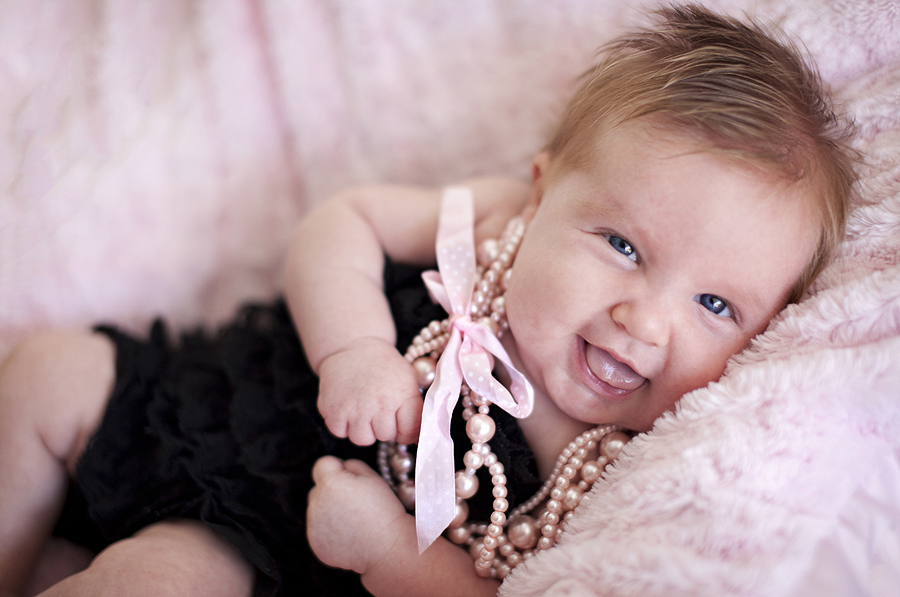 Pink and Black Baby Photography, Baby Pearl Necklace, Baby Joy Photography, Pink Blanket Baby Photography