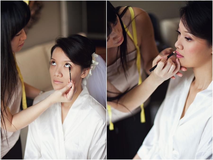 Bride getting makeup done at hotel zaza