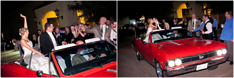 Bride and groom leaving in Red Chevrolet