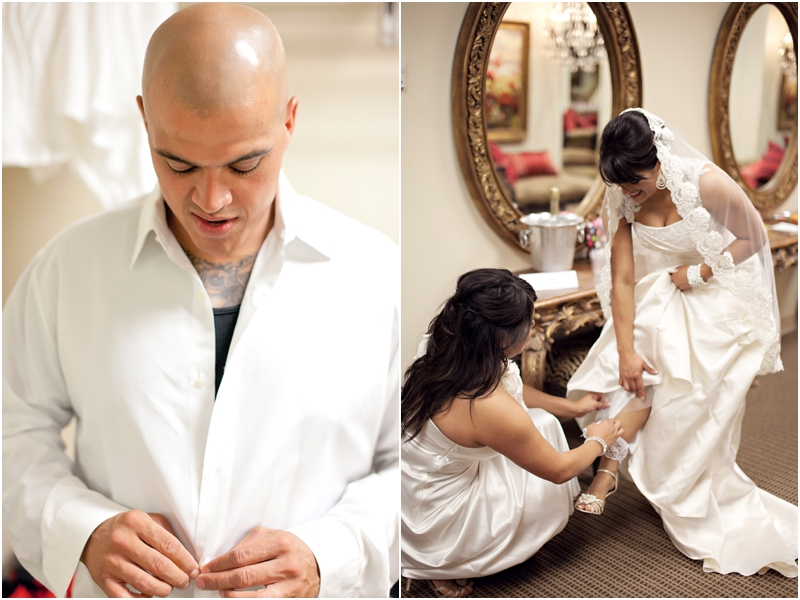 bride and groom getting ready in the legacy lubbock