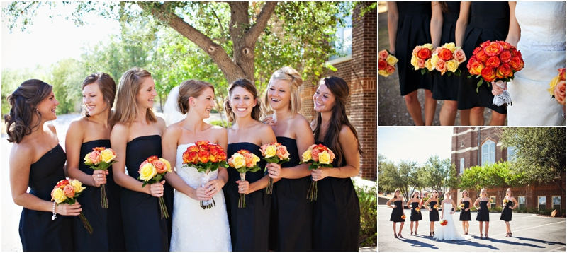orange wedding flowers, black bridesmaid dresses
