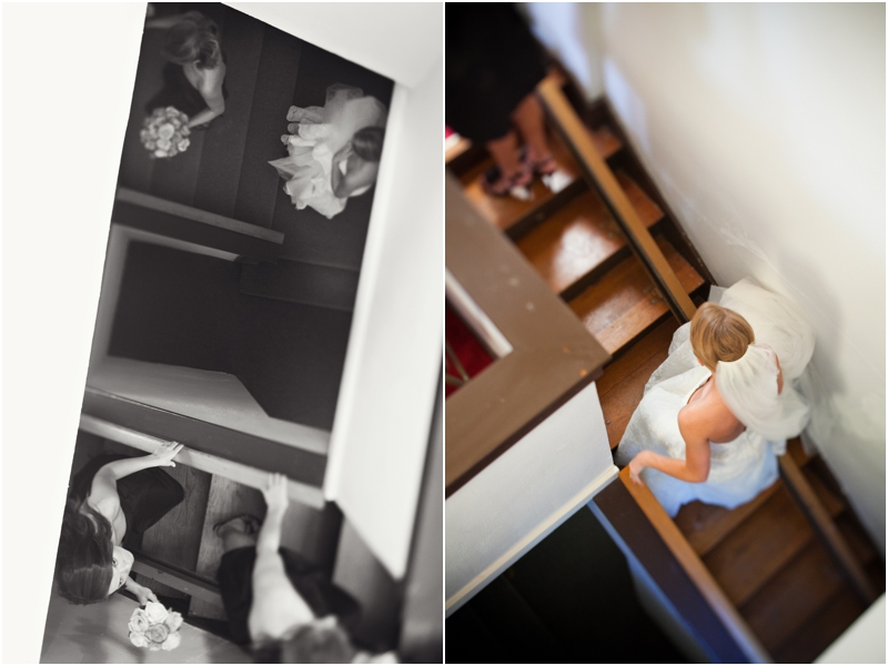 bride walking up stairs to wedding with bridesmaids at FUMC Throckmorton
