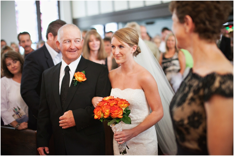 Father walking bride down the aisle wedding photography