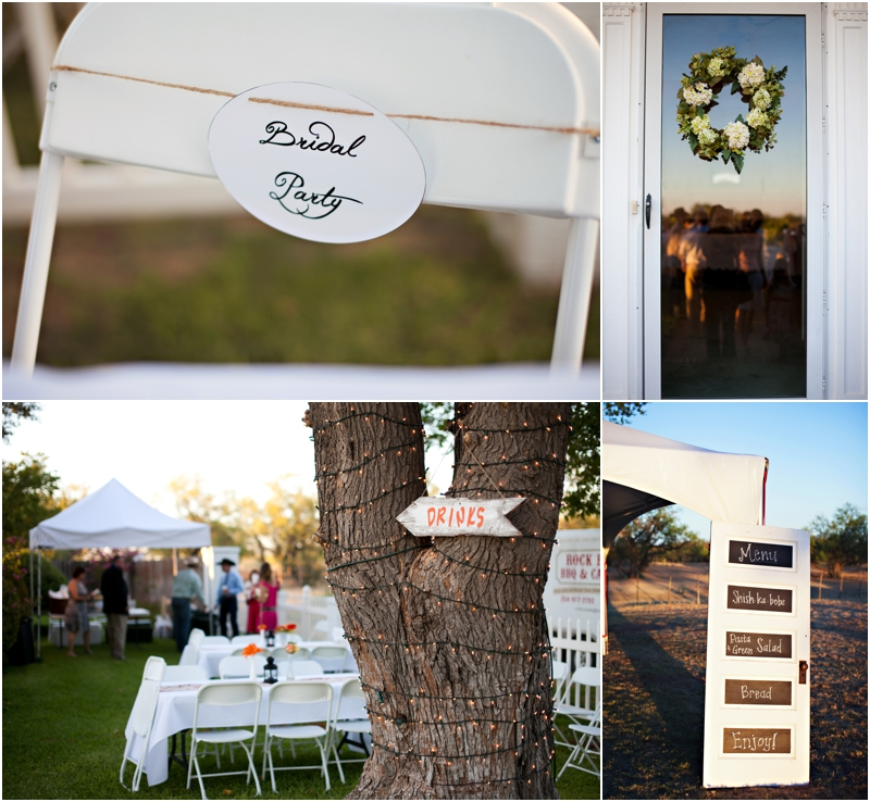 Rustic outdoor Wedding ceremony, White DIY wedding details
