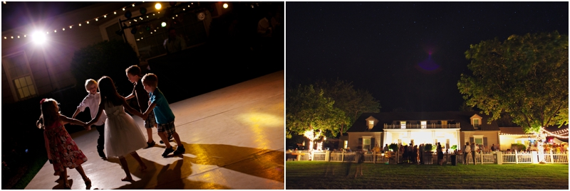 Outdoor wedding reception with romantic lighting in the trees