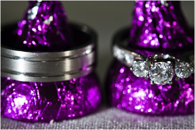 Wedding rings on purple hershey's kisses
