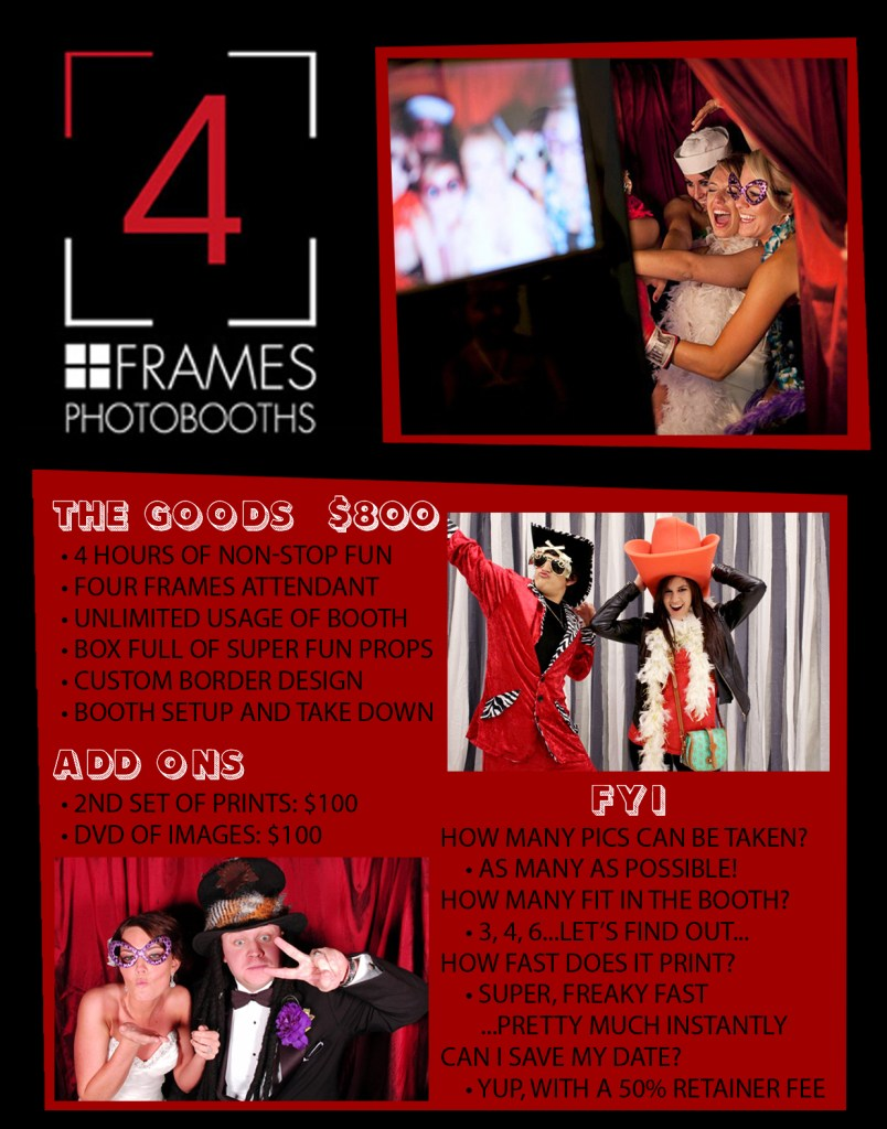 four frames photobooths pricing information