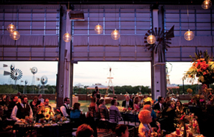 wedding reception lighting for elegant country wedding at american wind and power center in lubbock texas