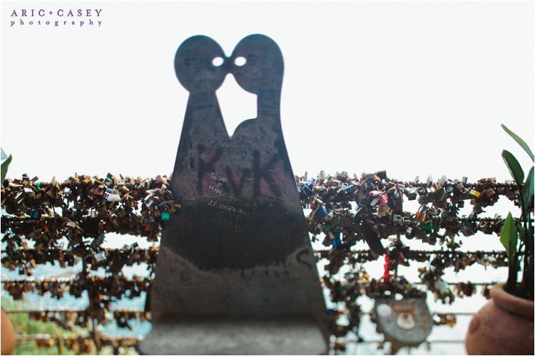 lovers locks on bridge at cique terre italy