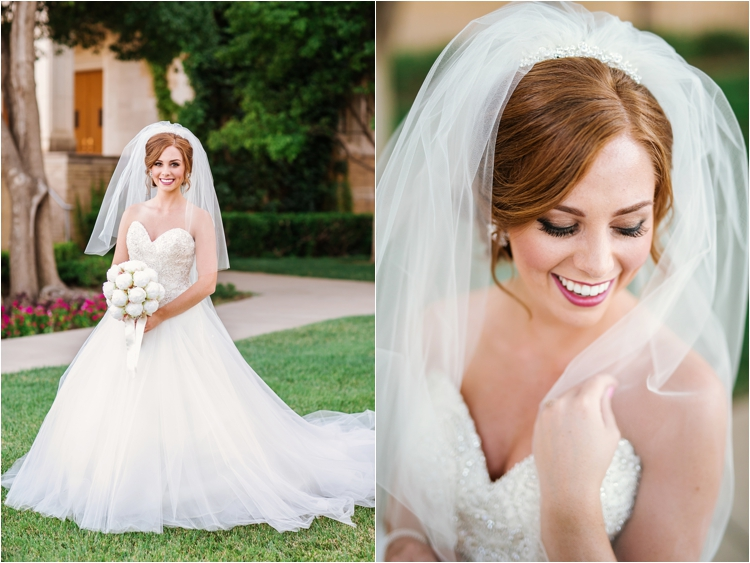 classic bridal portraits in front of FBC Lubbock