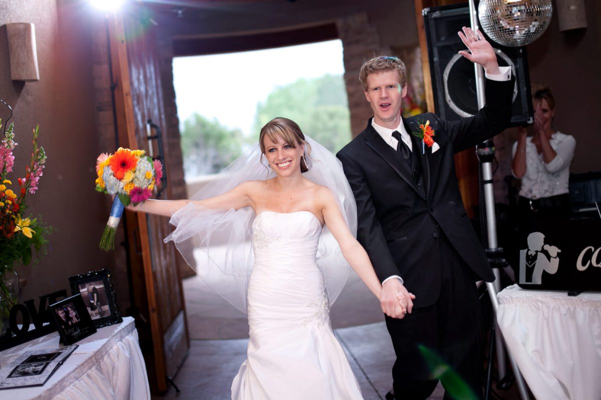couple enters reception
