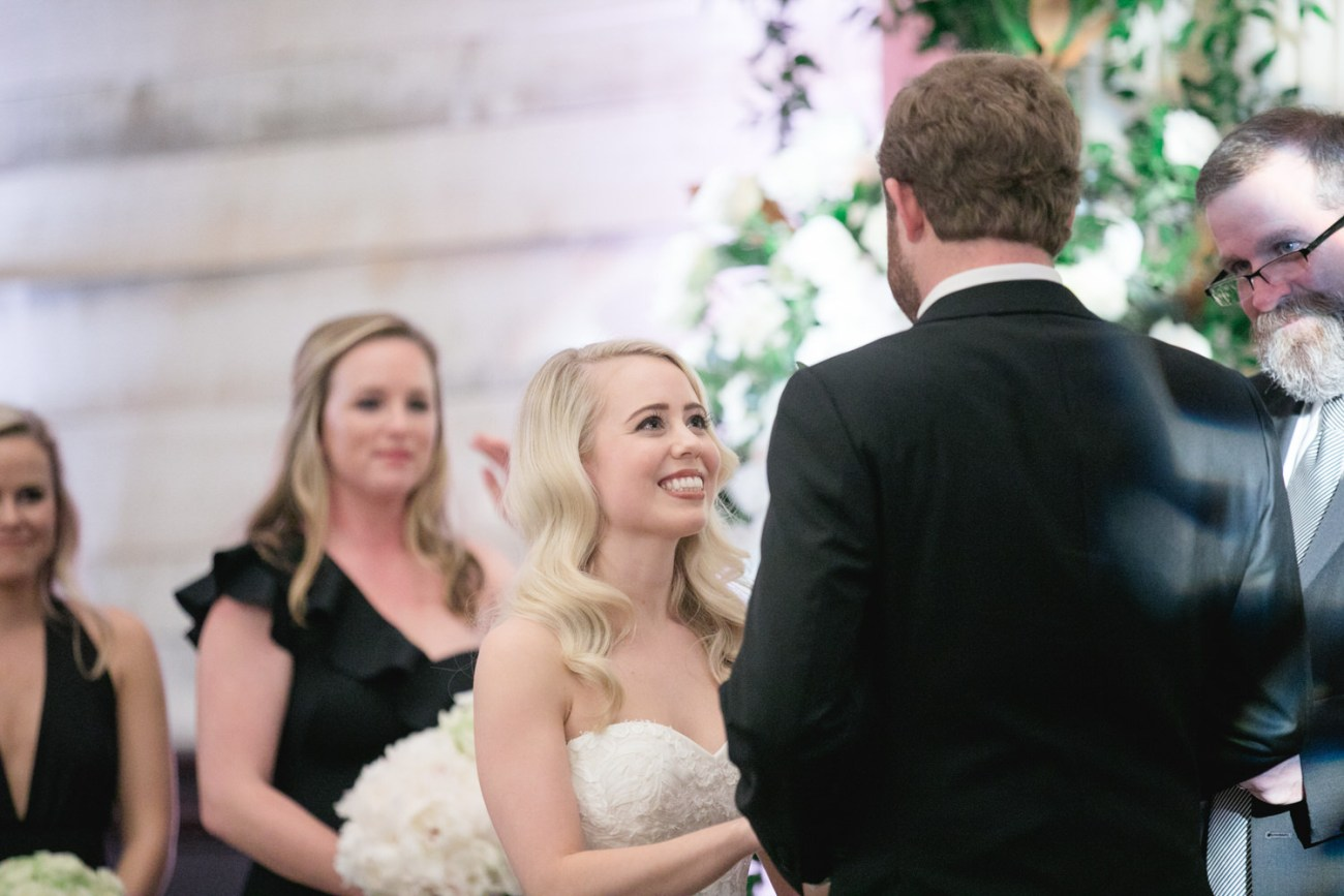 bride looking at groom at eberley brooks events