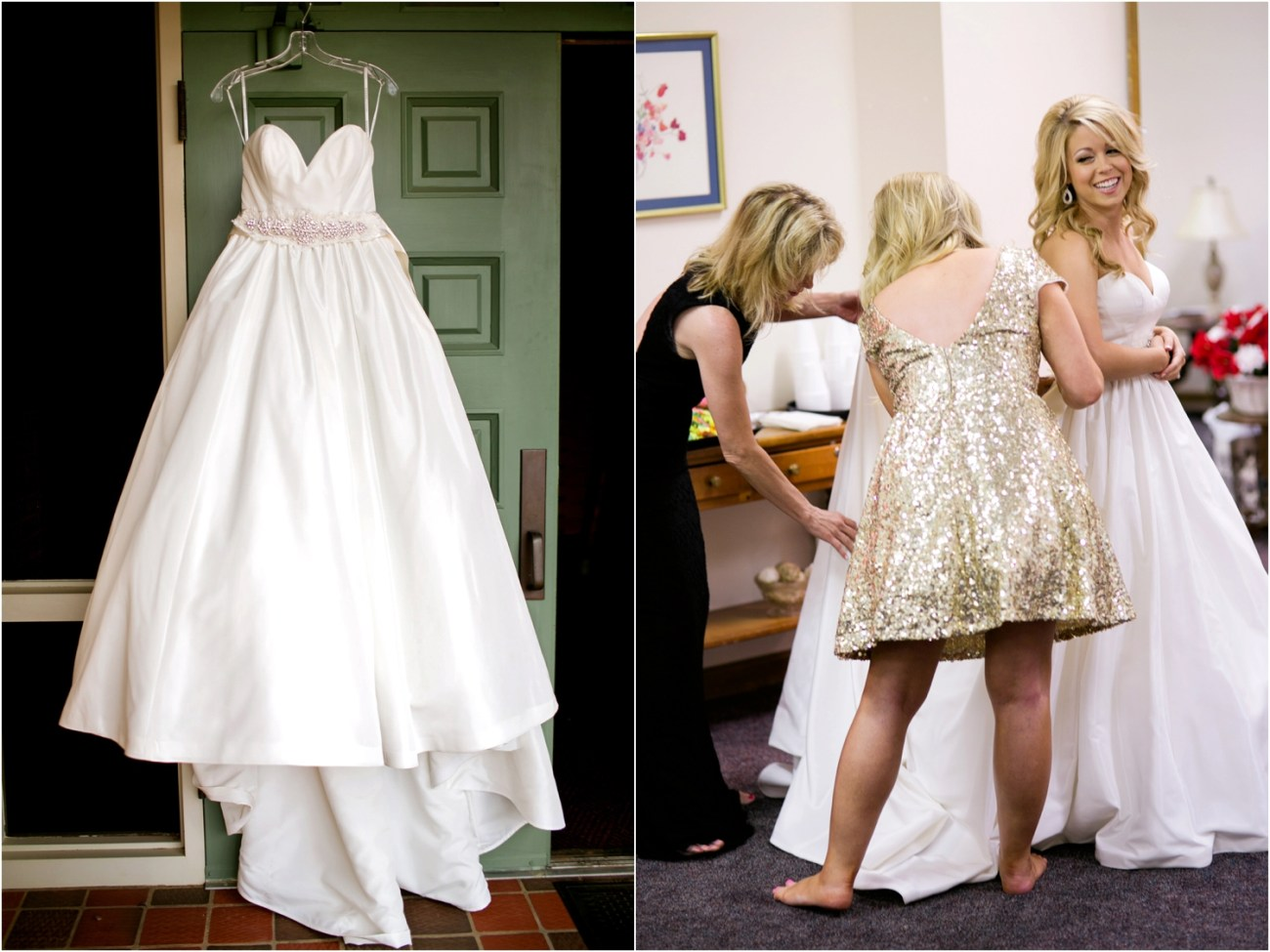bride getting ready at first christian church lubbock
