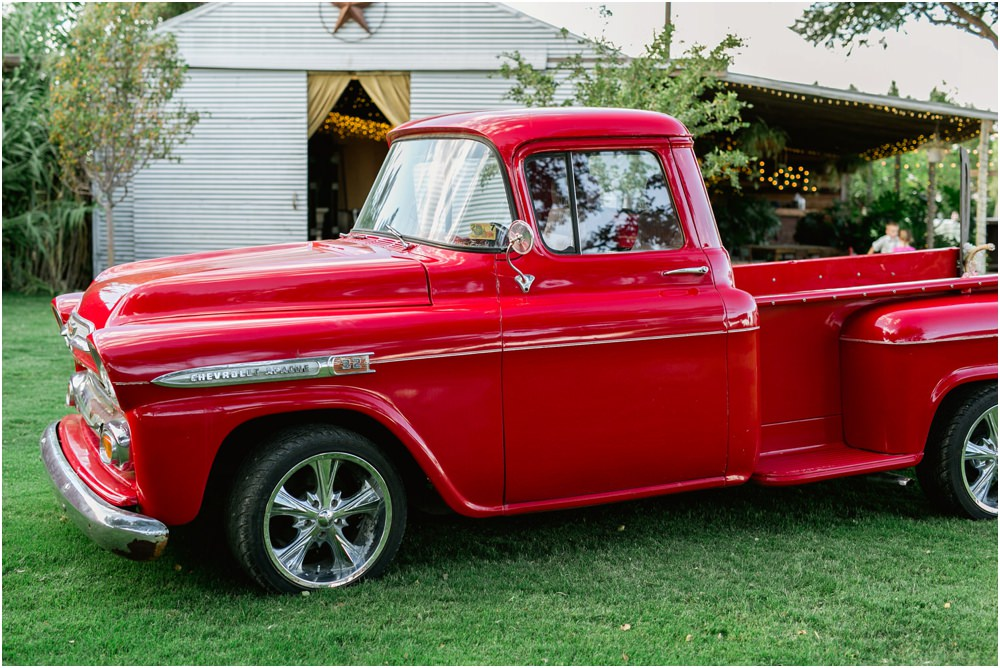 cotton creek red pickup truck