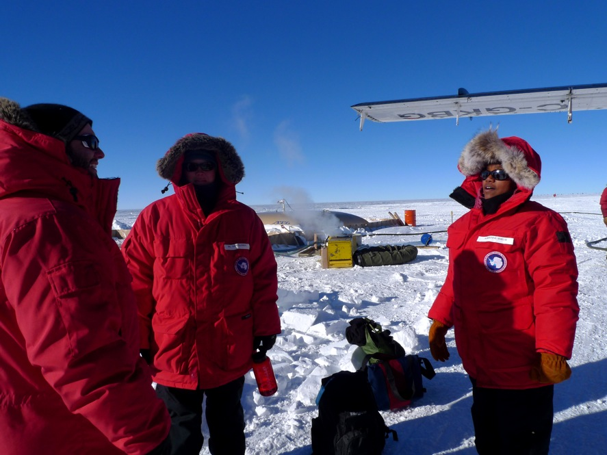 Adrienne Block discusses research in the Antarctic. Credit: Robin Bell.