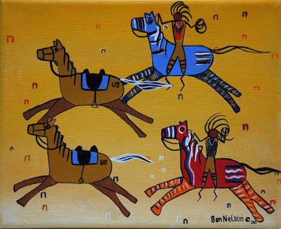 Acrylic painting, Native American 4 horses and 2 figures