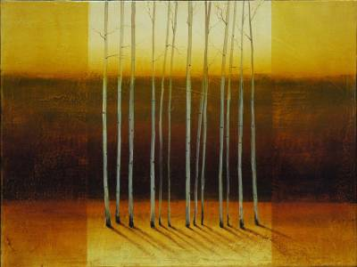 Painting of Aspen Trees, Ochre and Brown