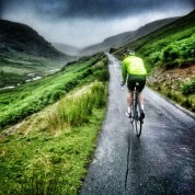 Riding uphill in the rain